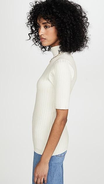 525 Wide Rib Mock Neck Pullover