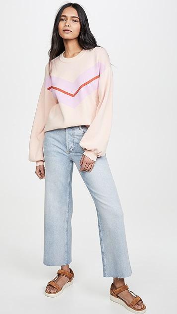 525 Укороченный пуловер с шевронами