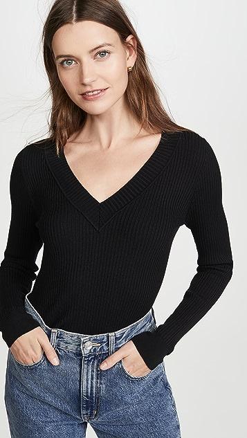 525 Wide Rib V Neck Pullover