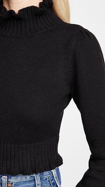 525 短款荷叶饰边半高领毛衣