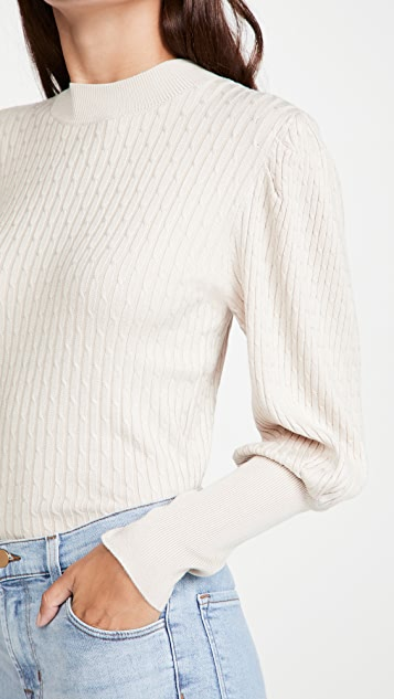 525 Cable Puff Sleeve Pullover
