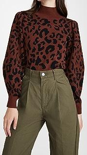 525 豹纹半高领套头衫