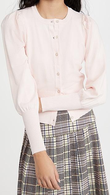 525 Rayon Nylon Puff Sleeve Cardigan