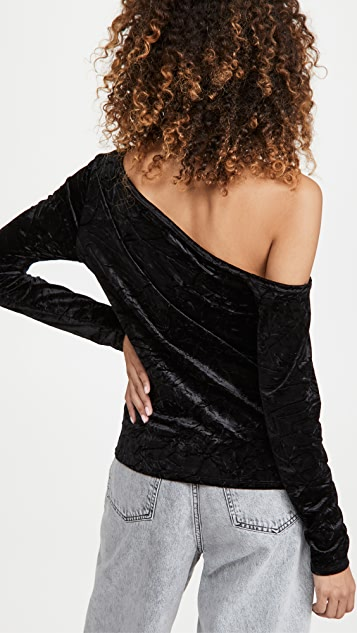 525 Crushed Velour Asymmetrical One Shoulder Top