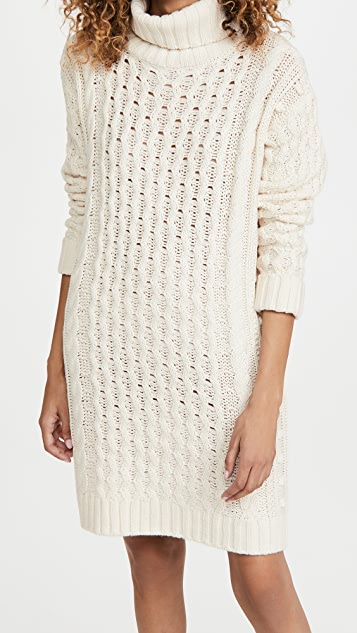 525 Soft Acrylic Cable Turtle Neck Dress