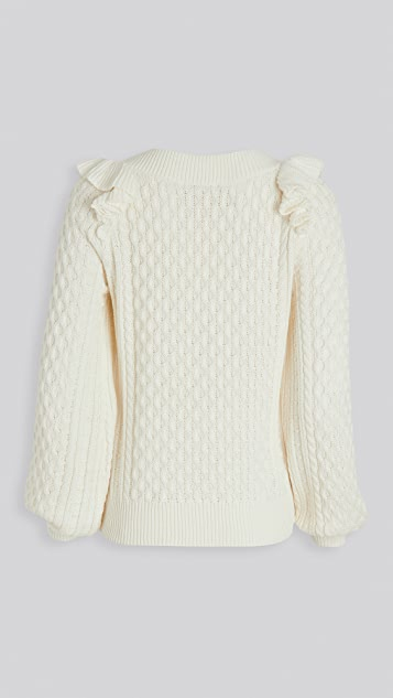 525 Cotton Ruffle Cable Pullover