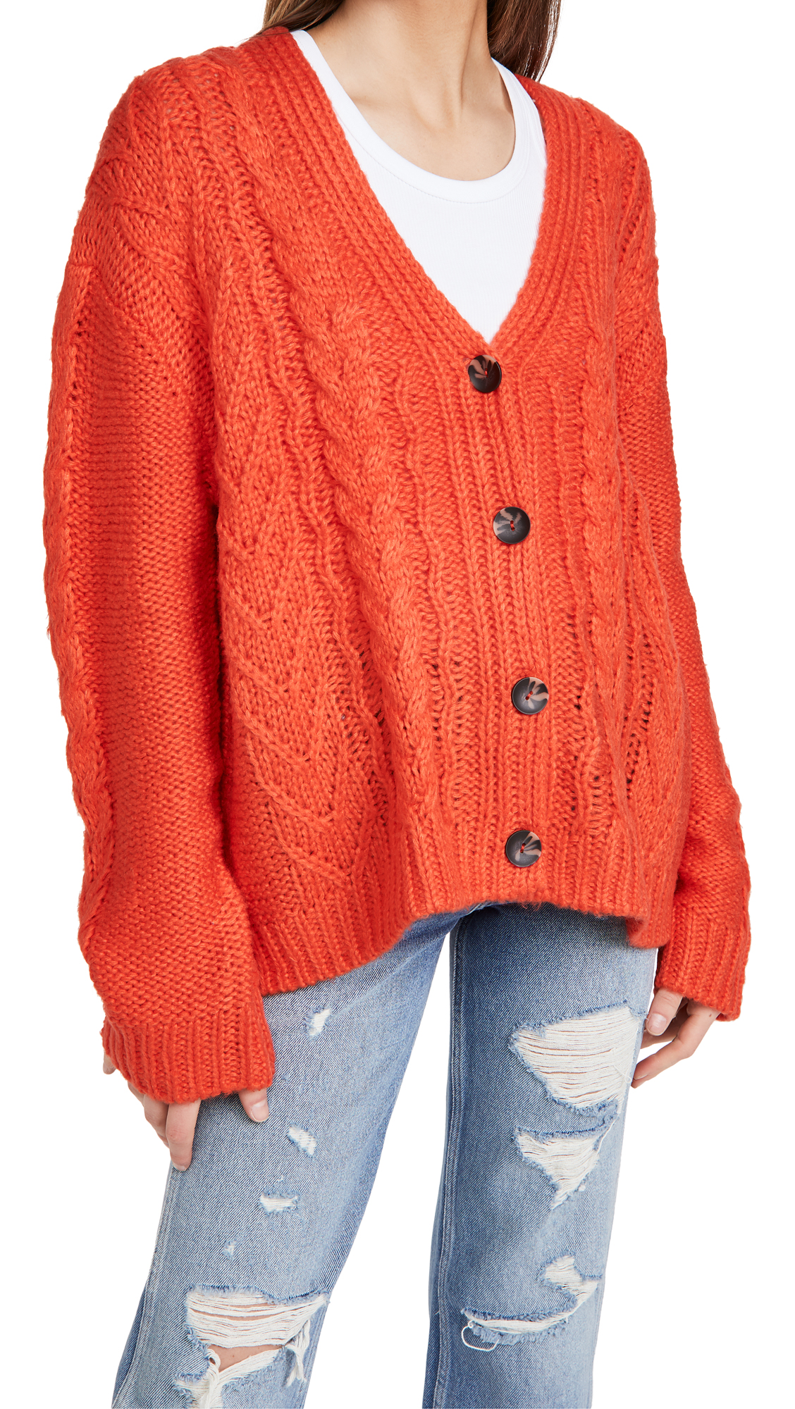 525 Mixed Cable Cardigan