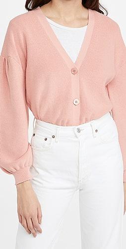 525 - 棉质裥褶袖系扣衫