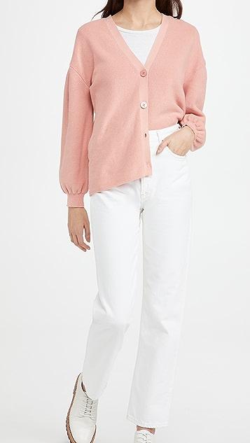 525 Cotton Pleat Sleeve Cardigan