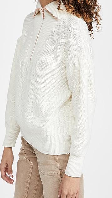 525 棉质裥褶袖四分之一拉链系扣毛衣