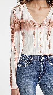 525 Tie Dye Wide Rib Crop Cardigan