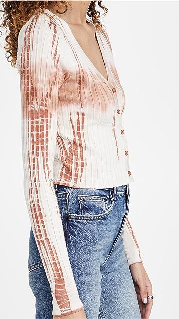 525 扎染宽罗纹短款系扣衫