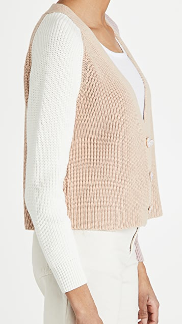 525 Cotton Contrast Cardigan