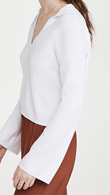 525 Cotton Cropped Collared V Neck Top