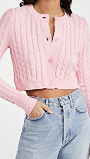 525 Cotton Cropped Cable Cardigan