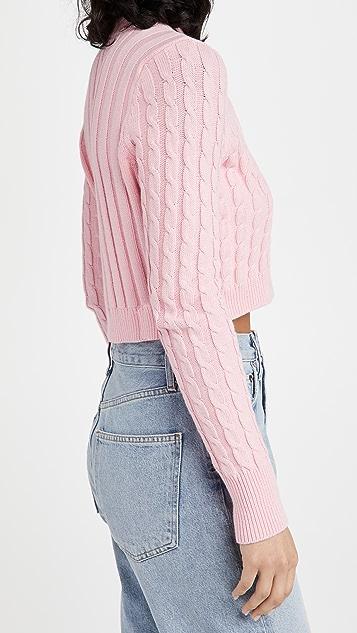 525 棉质短款绞花系扣衫