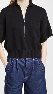 525 Collared Zip Up Short Sleeve Sweater