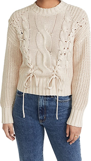 525 Cotton Cable Sweater with Lacing
