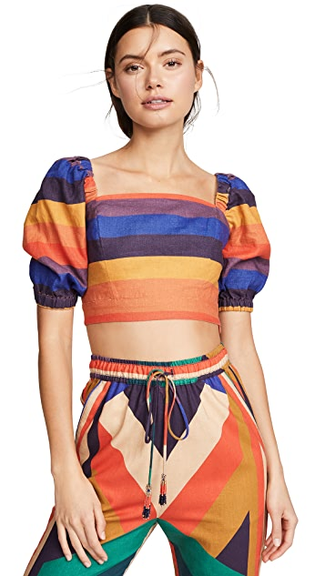 FARM Rio Rainbow Puff Sleeve Crop Top