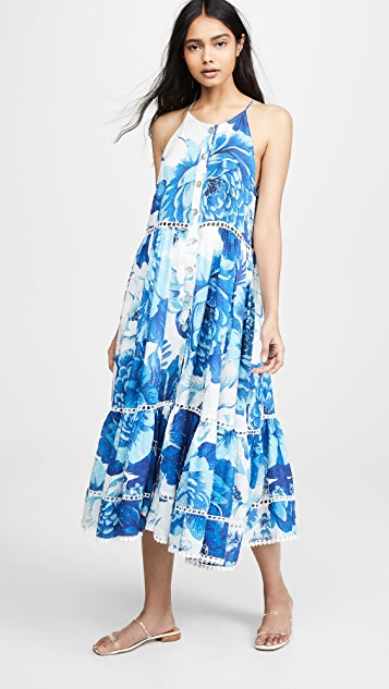 FARM Rio Azulejo Tile Dress
