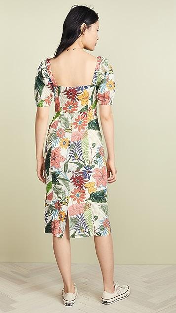 FARM Rio Vintage Garden Midi Puffed Sleeve Dress