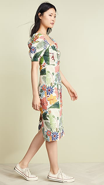FARM Rio Vintage Garden Midi Puffed Sleeve Dress