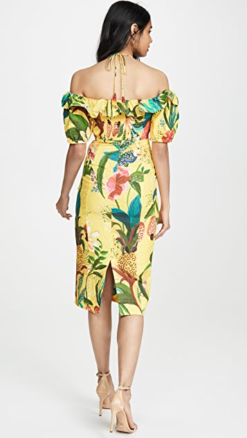 FARM Rio Golden Jungle Linen Midi Dress