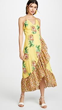 Golden Pineapple Print Wrap Dress