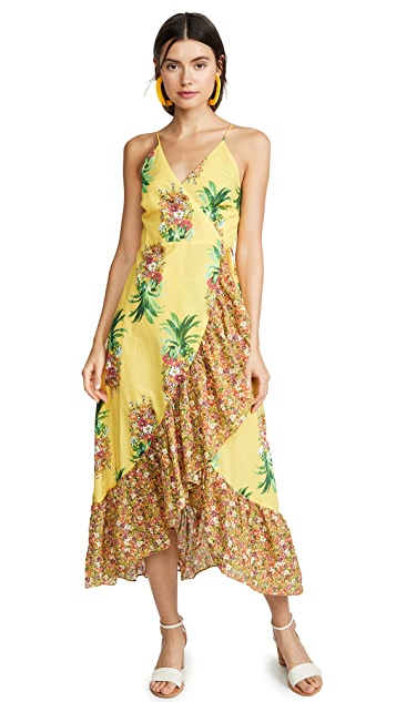 FARM Rio Golden Pineapple Print Wrap Dress