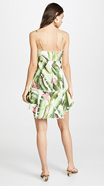 FARM Rio White Palms Mini Dress