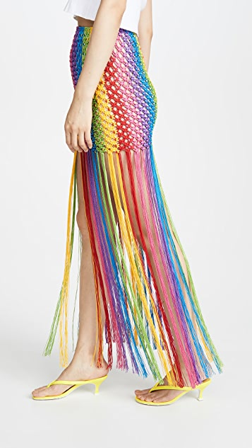 FARM Rio Rainbow Macrame Skirt
