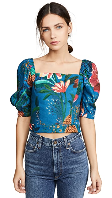 FARM Rio Blue Jungle Crop Top