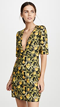 Mini Banana Craze V Neck Dress
