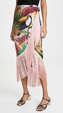 Tropical Tucano Fringe Wrap Skirt