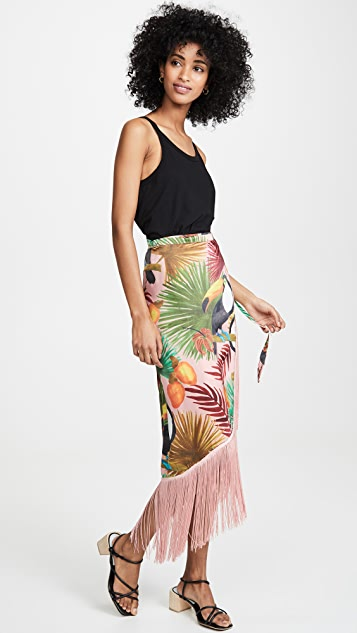FARM Rio Tropical Tucano Fringe Wrap Skirt