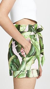 Pink Palms Paperbag Shorts