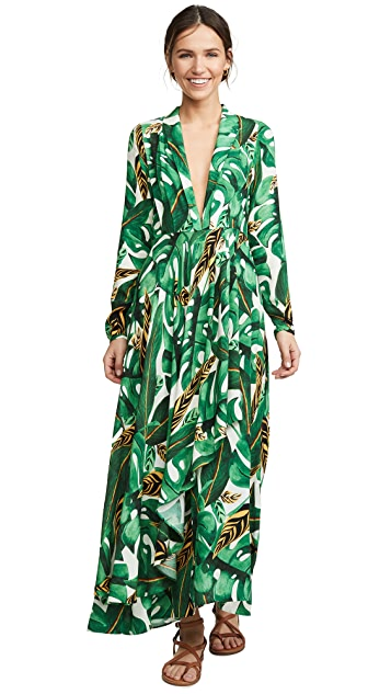 FARM Rio Max Amazonia Long Sleeve Wrap Dress