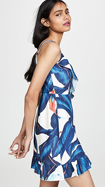FARM Rio Blue Palm Mini Wrap Dress