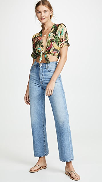 FARM Rio Tie Front Garden Crop Top