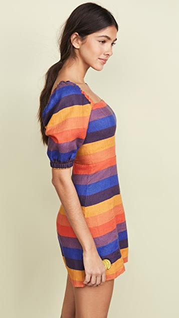 FARM Rio Rainbow Puff Sleeve Dress