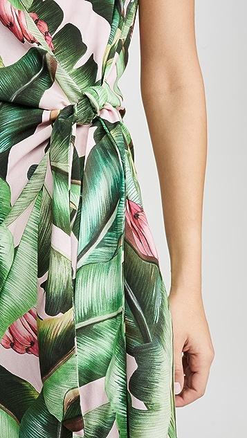 FARM Rio Короткое платье-халат Pink Palms