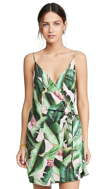 FARM Rio 粉色棕榈迷你裹身连衣裙