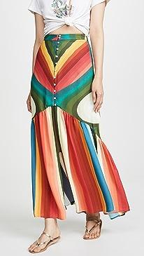 Rainbow Stripe Maxi Skirt
