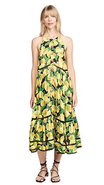 FARM Rio Black Lemon Midi Dress