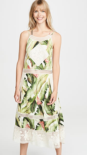 FARM Rio White Palms Midi Dress