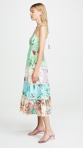 FARM Rio Комбинированное миди-платье с цветочным рисунком