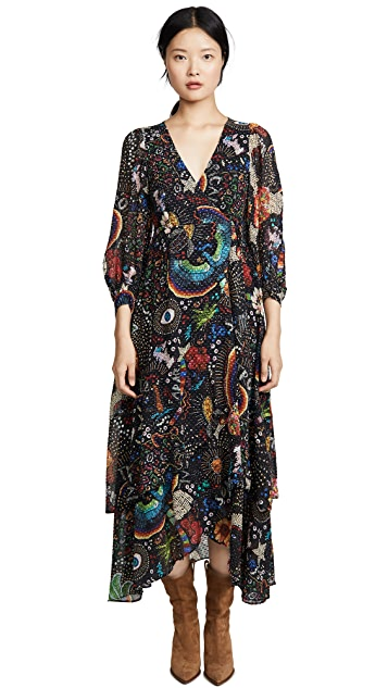 FARM Rio Black Borogodo Wrap Dress