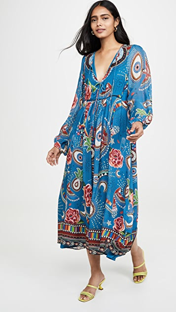 FARM Rio Миди-платье Mystic Blue