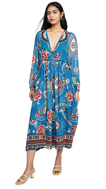 FARM Rio Mystic Blue Midi Dress