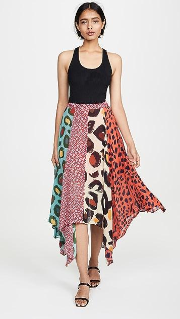FARM Rio Mixed Leopard Skirt